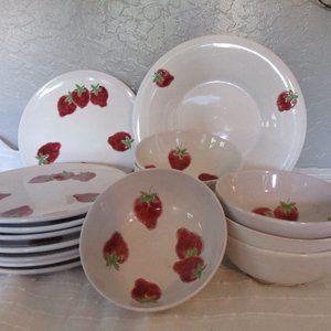 Vintage 1960's Italian strawberry pottery set